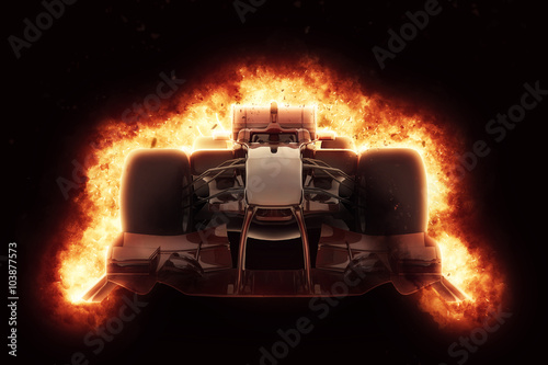3D race car with fiery explosion effect - 103877573
