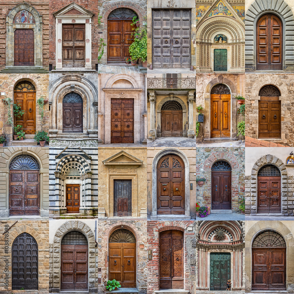 Fototapeta Old antique door Tuscany Italy