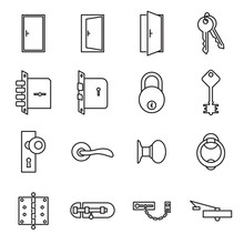 Icons Related To Doors And Locks. Vector Illustration