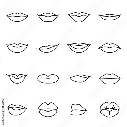 Icons of female lips Fototapet