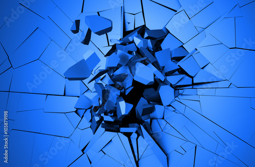 Fotografie, Obraz  Abstract 3d rendering of cracked surface