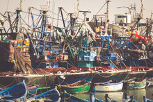 ESSAOUIRA, MOROCCO - MAY 4, 2013: Blue Fishing Boats In The Port