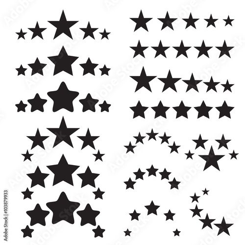 Five stars icons. Five-star quality icons. Five star symbols. Black icons isolated on a white background. Vector illustration Wall mural