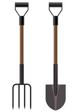 Vector Illustration Of A Garden Pitchfork And Shovel