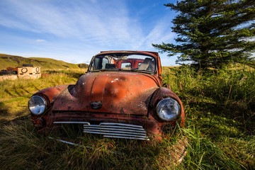 Red rundown car