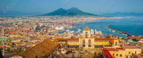 Garden Poster Napels City of Naples (Napoli) with Mt Vesuvius at sunset, Campania, Italy