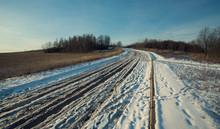 Winter Road Between The Fields...
