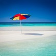 beautiful parasol blue sun sea tropical nature background holiday luxury resort island atoll about coral reef