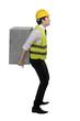 Asian business man lift heavy box