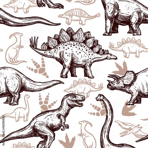 Materiał do szycia Dinozaury ślady wzór dwukolorowy doodle