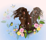 Beautiful brown horses with rose decoration