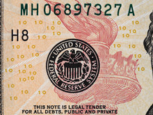 Seal Of The Federal Reserve System On The Us 10 Dollar Bill Macro, United States Money Closeup