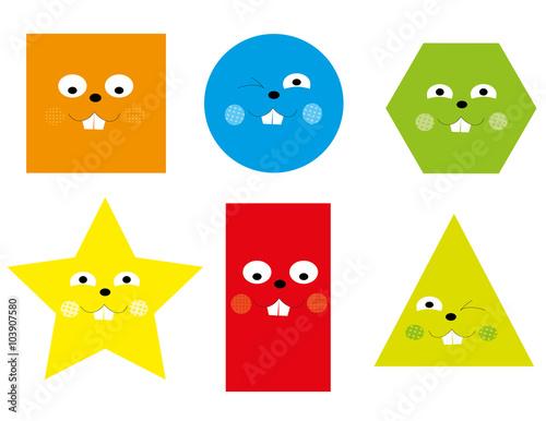 Learning Set Of Funny Basic Geometric Smiling Cartoon