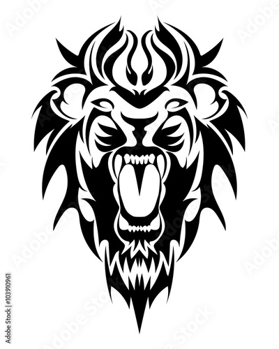 Fototapety, obrazy: Lion's Head in the form of a stylized tattoo