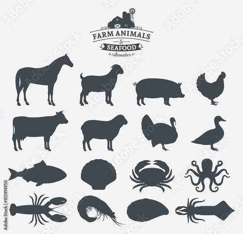 Vector Farm Animals and Seafood Silhouettes Collection Wall mural