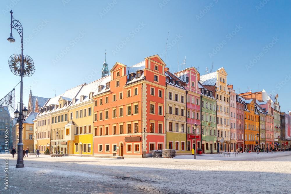 Fototapety, obrazy: Wrocław, kolorowe kamienniczki na Starym Rynku