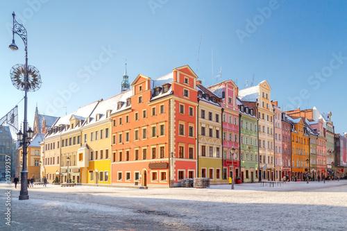 Obraz Wrocław, kolorowe kamienniczki na Starym Rynku - fototapety do salonu