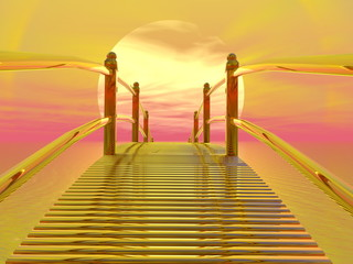 Panel Szklany Golden bridge to sun - 3D render