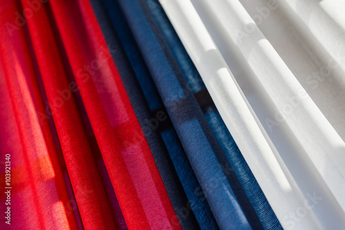 Tricolor drapery with red, blue and white Poster