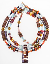 African Style Necklace From Gemstones And Coconut