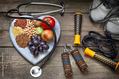 Fototapeta Healthy lifestyle concept with diet and fitness