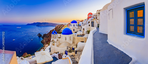 Fototapeta Santorini, Greece - Oia at sunset, panorama