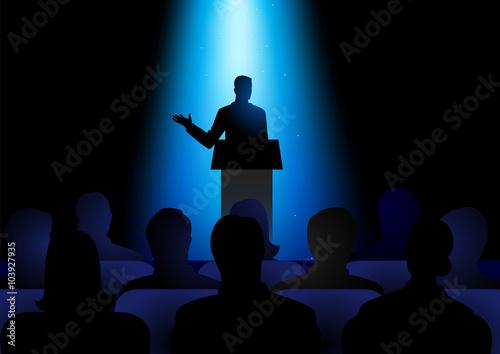 Fotografie, Obraz  Man Giving A Speech On Stage