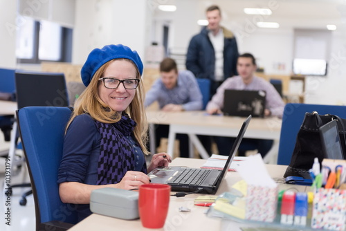 Fototapety, obrazy: startup business, woman  working on laptop