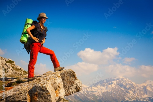 A woman in mountain day summer Canvas Print