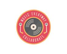 Flat Vintage Music Badge