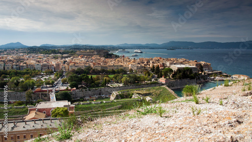 Foto op Aluminium Algerije Panoramablick von der Alten Festung auf Korfu-Stadt