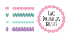 Naturally Coloured Realistic Looking Butter Cream Icing Cake And Dessert Seamless Decoration Brushes. Drag The Element To Brush Pannel To Create A Pattern Brush.