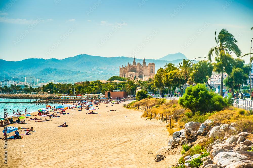 Fototapety, obrazy: View of the beach of Palma de Mallorca