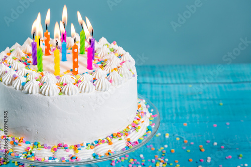 Photo  Colorful Birthday Cake with Candles