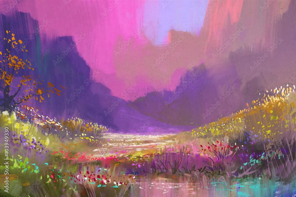 Schöne Landschaft in den Bergen mit bunten Blumen, digitale Malerei ...