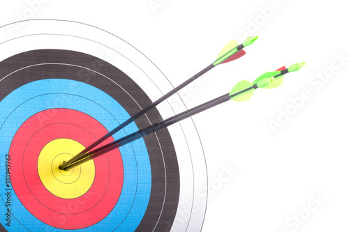 Billede på lærred Arrow hit goal ring in archery target