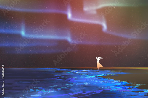 Photo  woman standing on beach glows with Northern lights Aurora borealis above,illustr