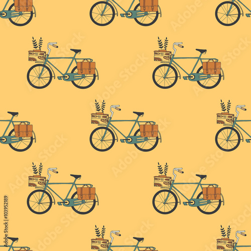 Cotton fabric Illustration of Bicycle, Riding on the bicycle, vector illustrat