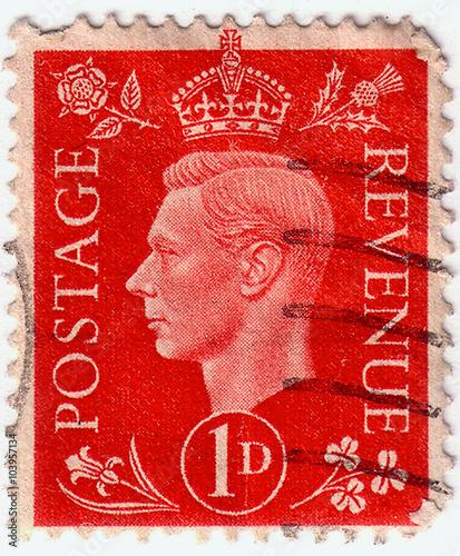 Valokuva  UNITED KINGDOM - CIRCA 1937: A stamp printed in United Kingdom shows portrait of