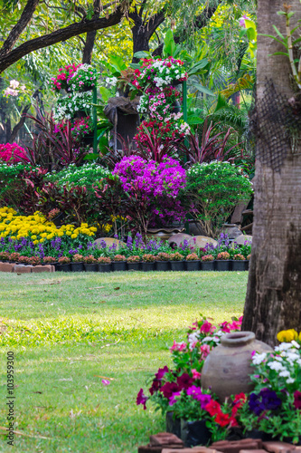 Printed kitchen splashbacks Garden Flowers in the garden. /Landscaped flower garden with lots of colorful blooms.