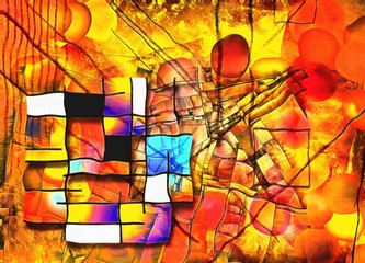Panel Szklany Abstrakcja Painterly Colorful Abstract