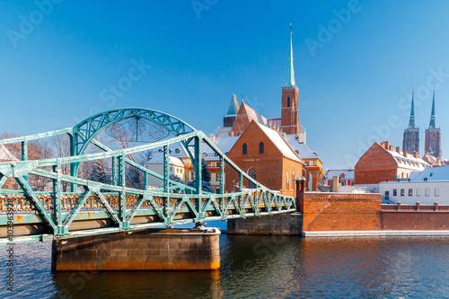 Obraz Wroclaw. Tumski bridge. - fototapety do salonu