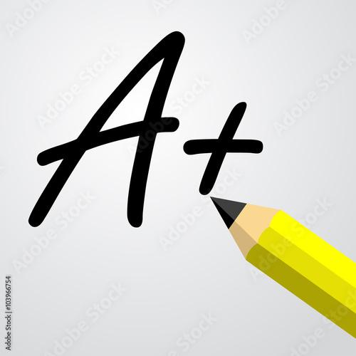 Foto  Icono plano texto A con lapiz negro