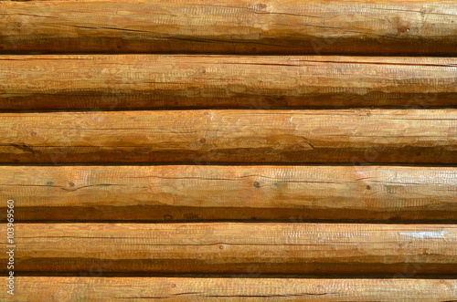 Log wall, close-up. Background Poster