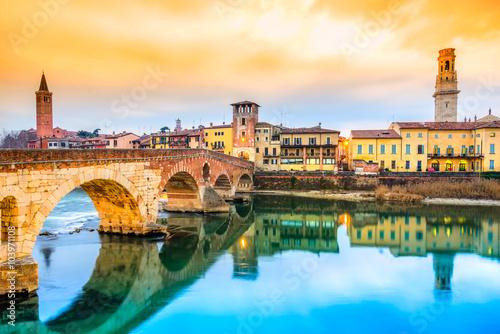 Ponte di Pietra in Verona, Italy
