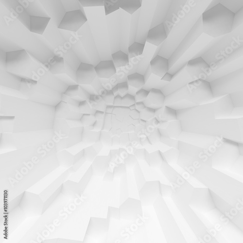 Fototapety, obrazy: Geometric color abstract polygons extruded cells wallpaper, as crack wall