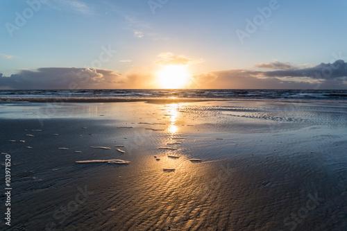 Spoed Foto op Canvas Noordzee Abenddämmerung an der Nordsee