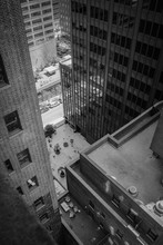 New York Building View From Above In Black And White..