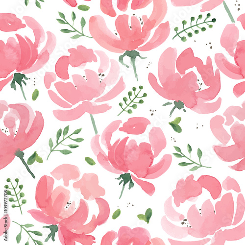 Watercolor Peonies seamless fabric pattern Wallpaper Mural