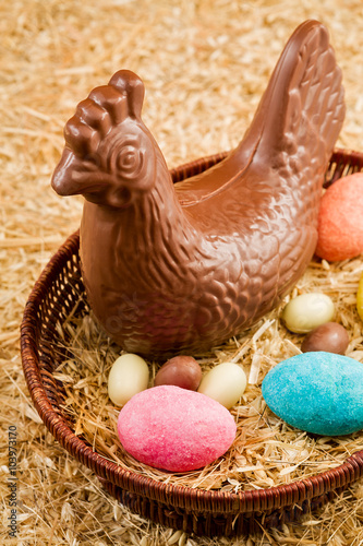 Aluminium Prints Grocery Easter chocolate hen and eggs